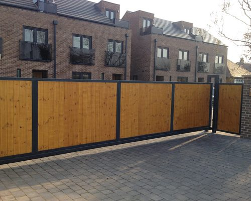 Large Wooden Driveway Gate